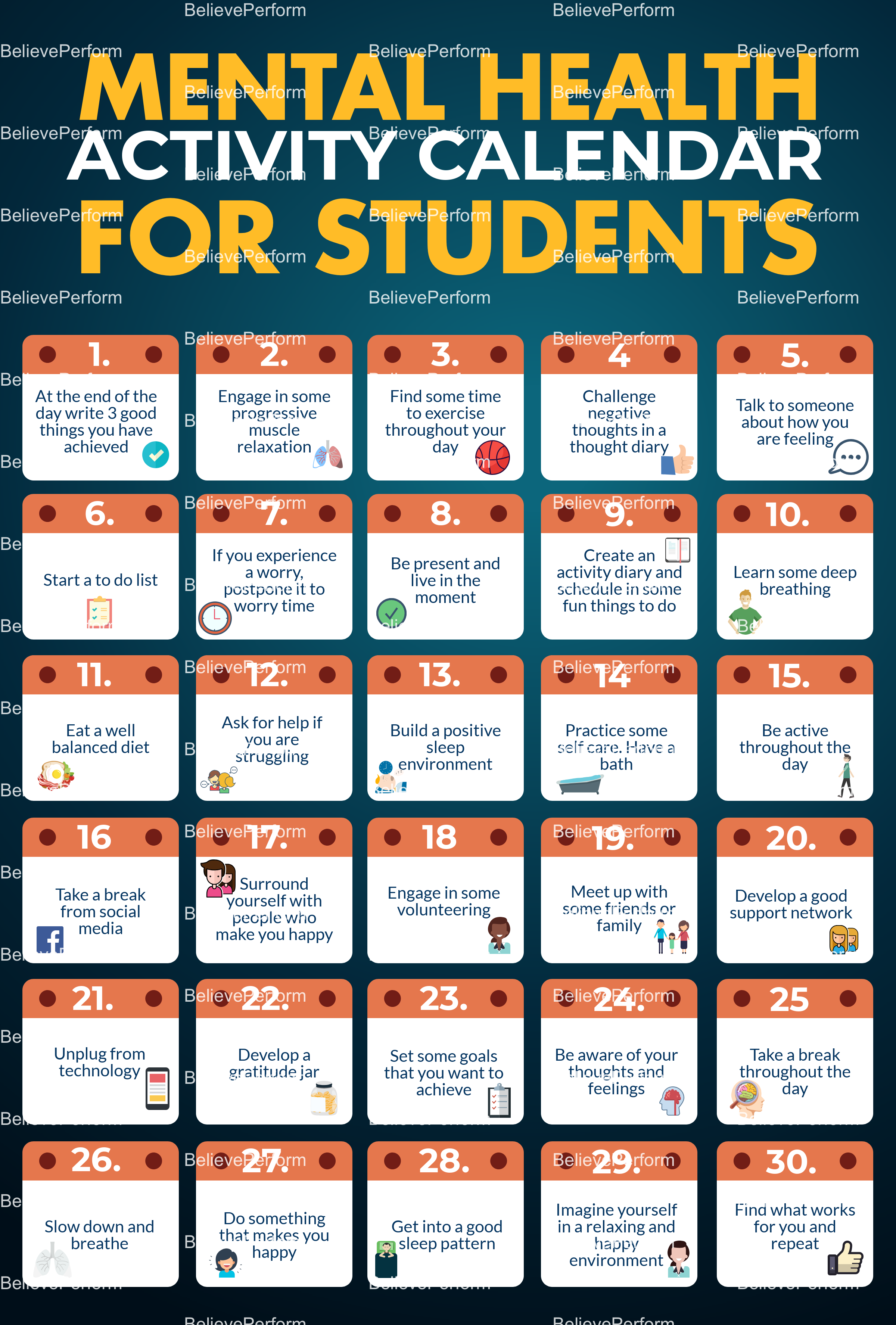 Mental health activity calendar for students