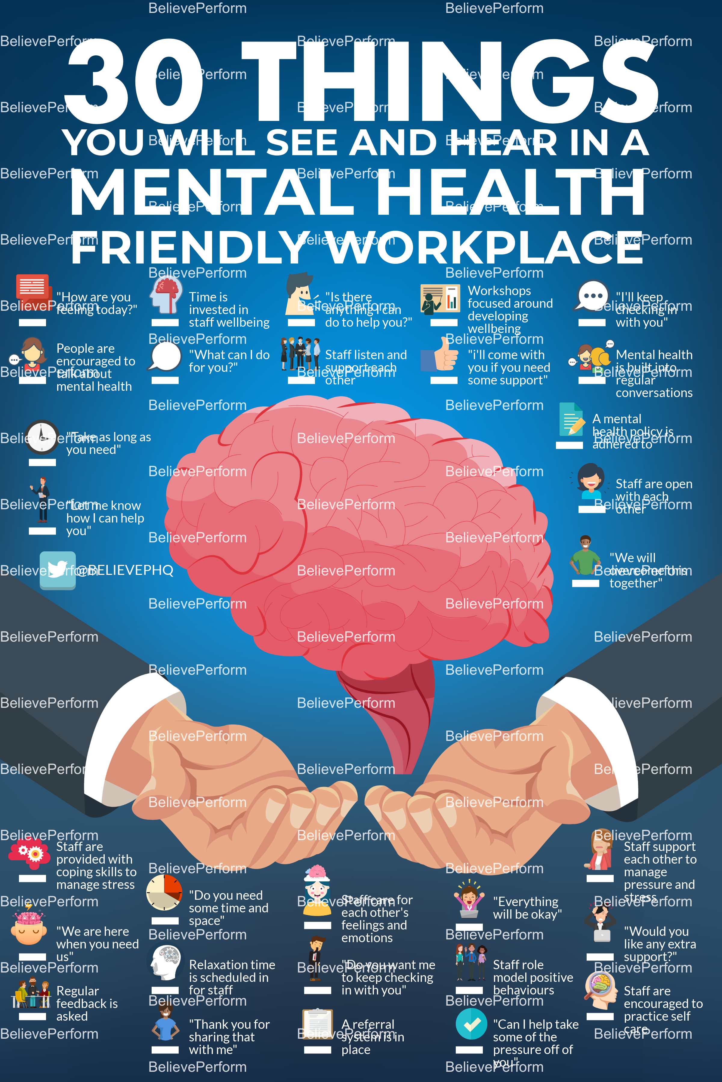 30 things you will see and hear in a mental health friendly workplace